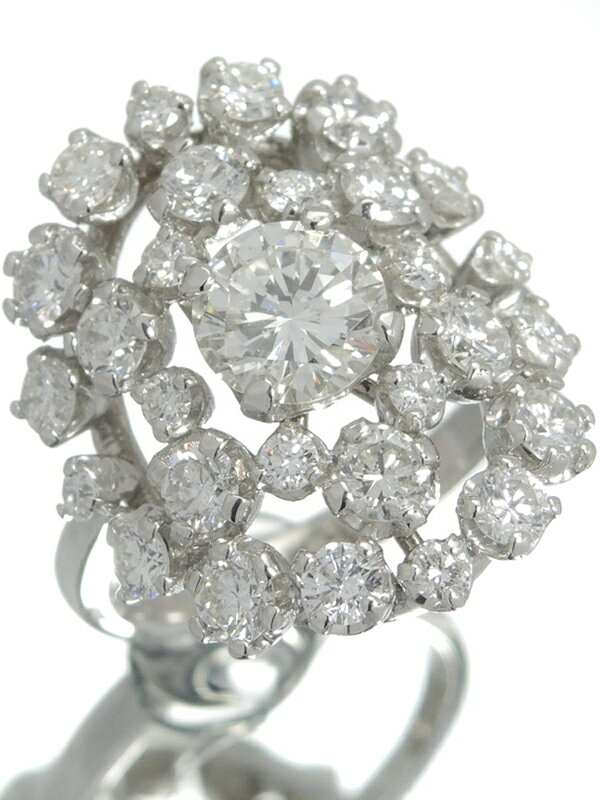 【ソーティング】【仕上済】セレクトジュエリー『PT900リング ダイヤモンド0.985ct/H/VS-1/GOOD 2.05ct』12号 1週間保証【中古】