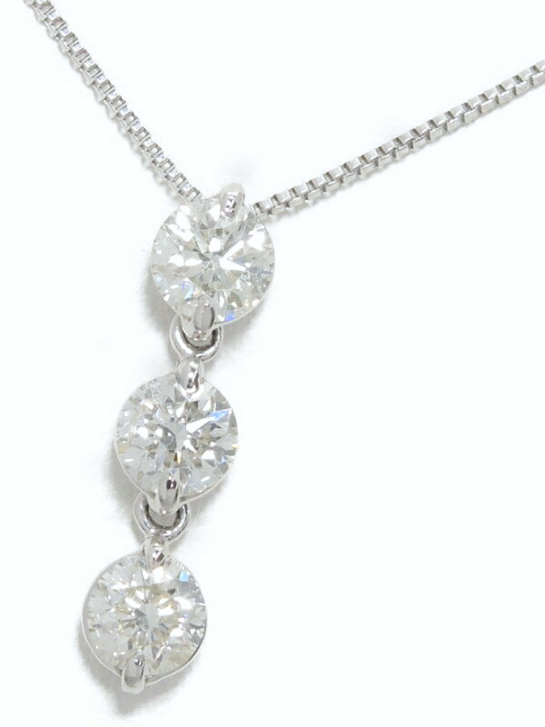 【2Way】セレクトジュエリー『PT900/PT850ネックレス 3Pダイヤモンド0.70ct』1週間保証【中古】