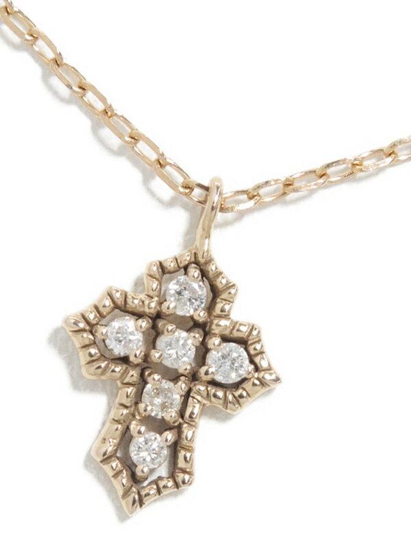 セレクトジュエリー『K18PGネックレス ダイヤモンド0.06ct クロスモチーフ』1週間保証【中古】