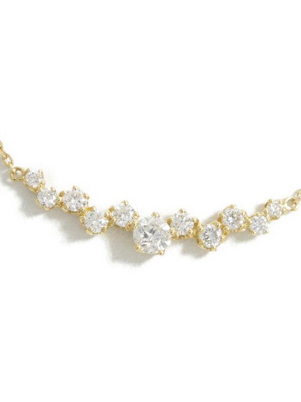 【Wish upon a star 】ウィッシュアポンアスター『K18YGネックレス ダイヤモンド0.102ct 0.18ct』1週間保証【中古】