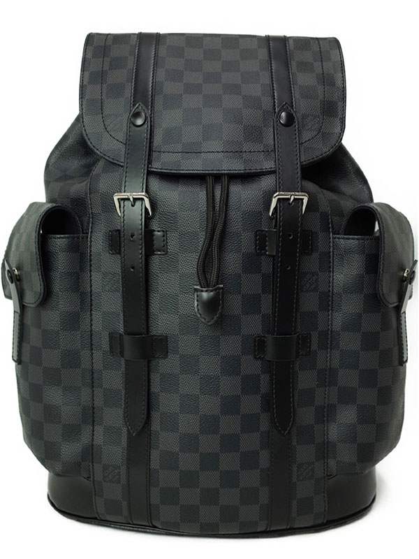 【LOUIS VUITTON】【リュックサック】ルイヴィトン『ダミエ グラフィット クリストファーPM』N41379 メンズ バックパック 1週間保証【中古】