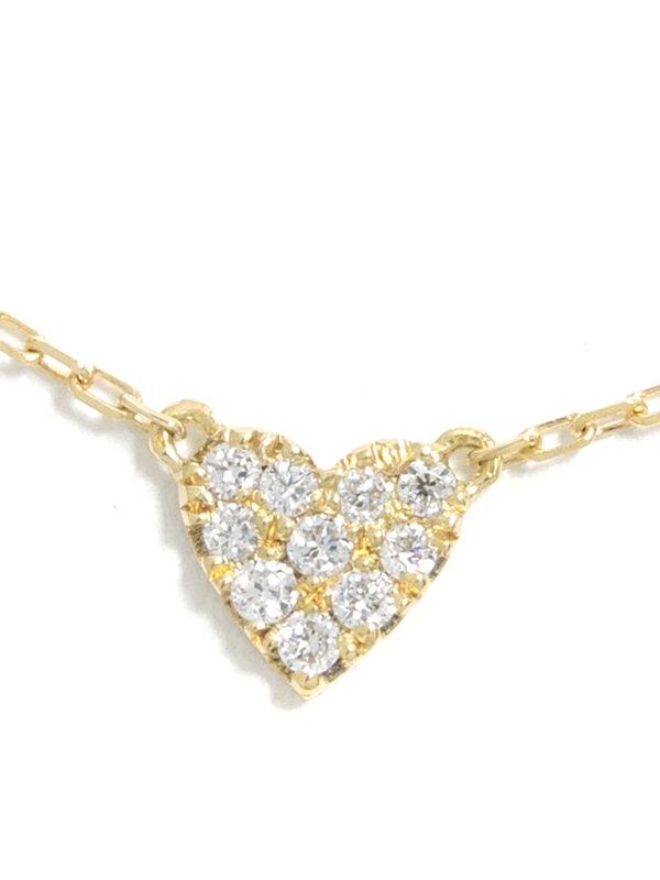【AHKAH】【vivian couture】【仕上済】アーカー『ヴィヴィアンクチュール K18YG ハートパヴェ ネックレス ダイヤモンド0.05ct』1週間保証【中古】