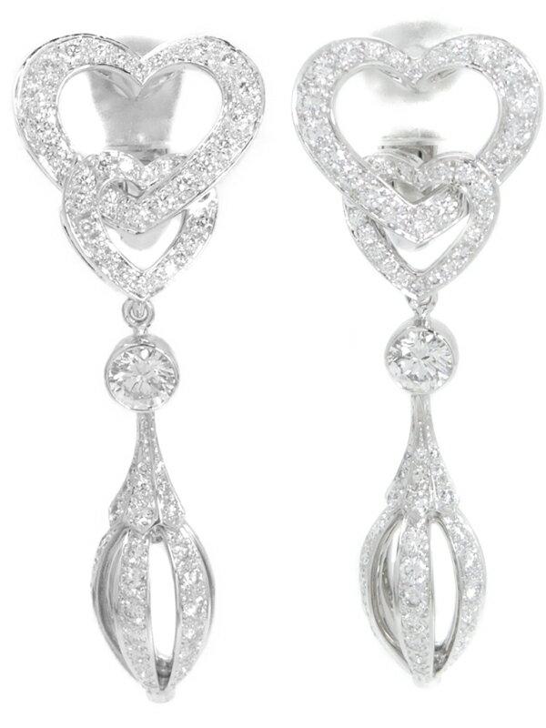 【Cartier】【メーカー仕上済】カルティエ『K18WG ダブルハート ピアス ダイヤモンド』1週間保証【中古】