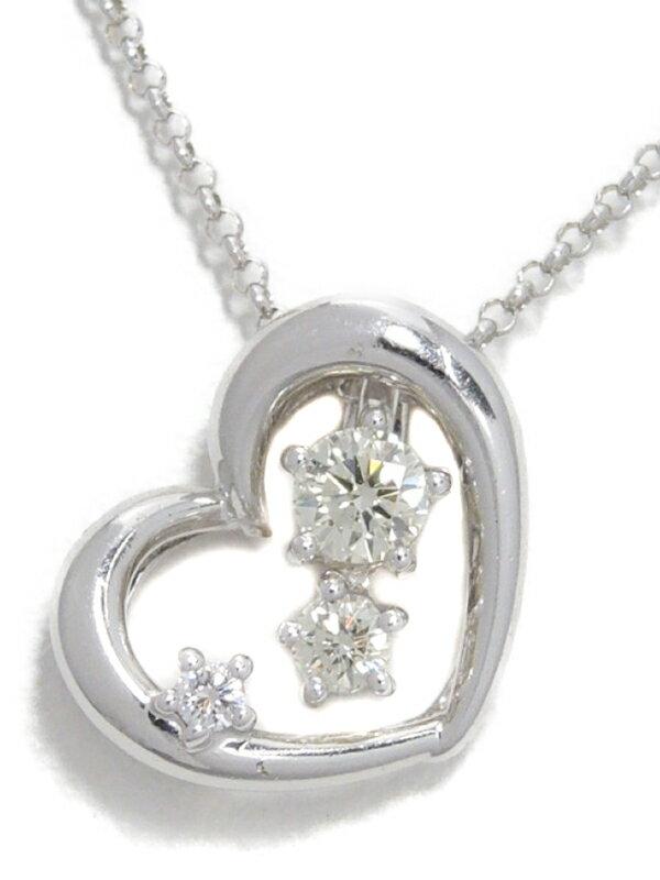 【TASAKI】【3Way】タサキ『K18WGネックレス ダイヤモンド0.16ct 0.01ct ハートモチーフ』1週間保証【中古】
