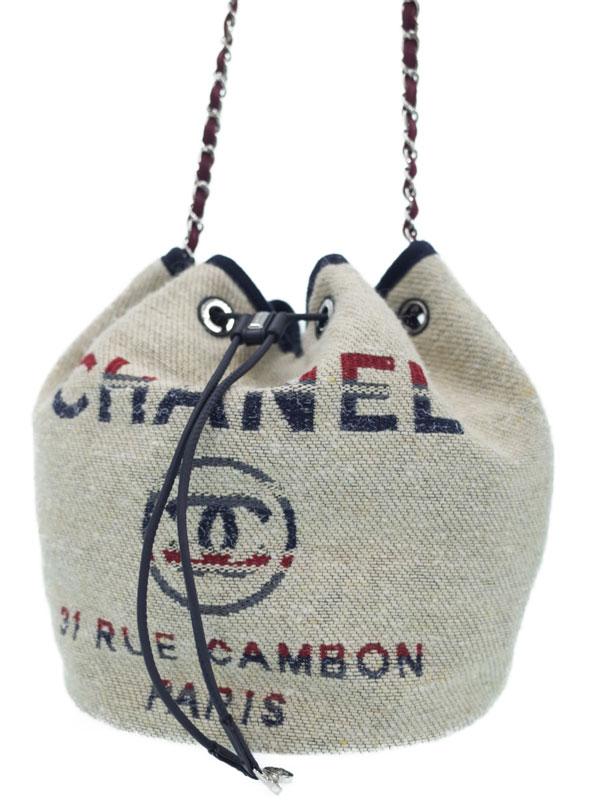 【CHANEL】【シルバー金具】シャネル『ドーヴィル 巾着型 チェーンショルダーバッグ』A57536 レディース 1週間保証【中古】