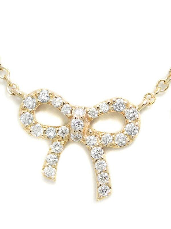 【TIFFANY&Co.】【リボンモチーフ】ティファニー『K18PG メトロ ボウ ペンダント ネックレス ダイヤモンド』1週間保証【中古】