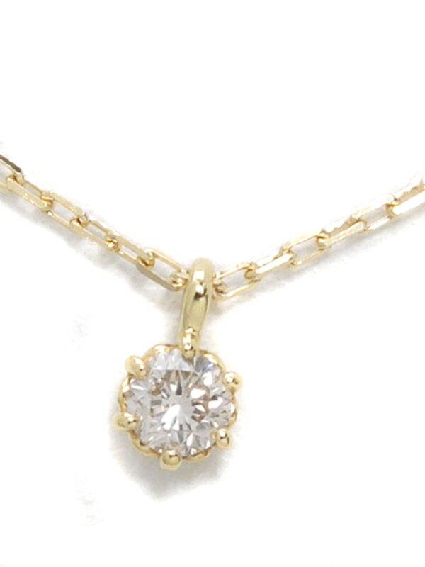 【agete】アガット『K18YGネックレス 1Pダイヤモンド0.05ct』1週間保証【中古】