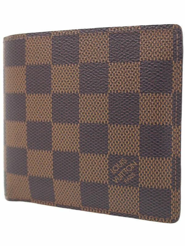 【LOUIS VUITTON】ルイヴィトン『ダミエ ポルトフォイユ マルコ』N61675 メンズ 二つ折り短財布 1週間保証【中古】