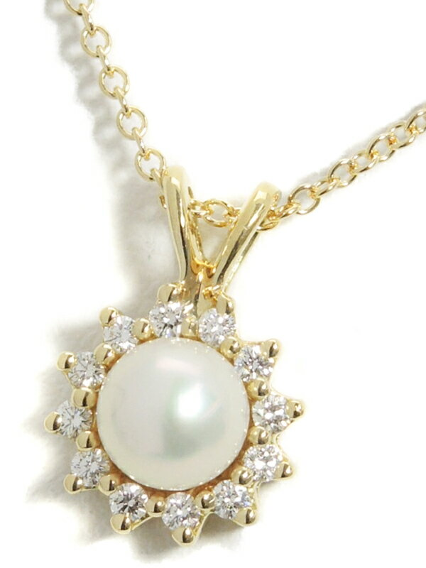 【TIFFANY&Co.】ティファニー『K18YGネックレス パール ダイヤモンド』1週間保証【中古】