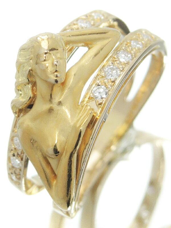 【Carrera y Carrera】【女神】【仕上済】カレライカレラ『K18YGリング ダイヤモンド 女性モチーフ』15号 1週間保証【中古】