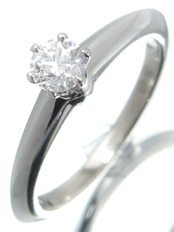 【TIFFANY&Co.】【鑑定書】【仕上済】ティファニー『PT950 ソリティア リング 1Pダイヤモンド0.23ct/D/VVS-1/EXCELLENT』8号 1週間保証【中古】
