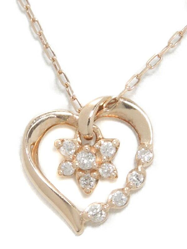 【4℃】【2013年クリスマス限定】ヨンドシー『K10PGネックレス ダイヤモンド ハート&フラワーモチーフ』1週間保証【中古】