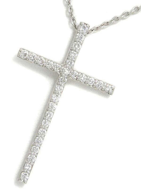 【Ponte Vecchio】ポンテヴェキオ『K18WGネックレス ダイヤモンド0.13ct クロスモチーフ』1週間保証【中古】