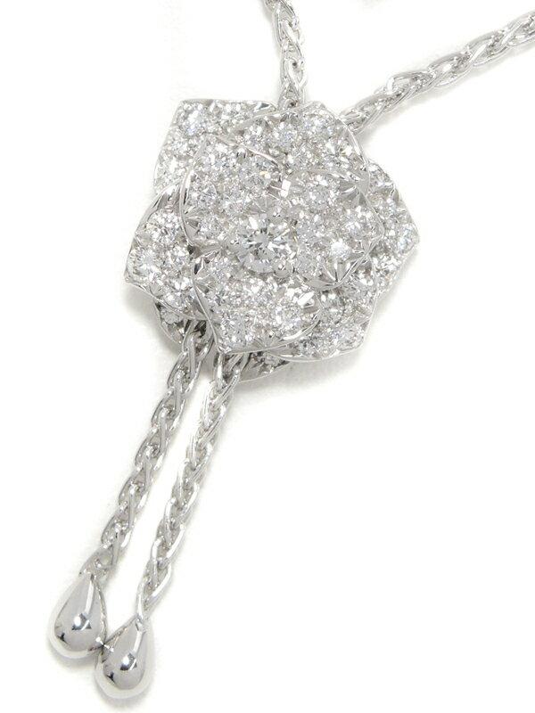【PIAGET】【Piaget Rose】【パヴェダイヤ】【仕上済】ピアジェ『K18WG ローズ ペンダント ネックレス ダイヤモンド』G33U0093 1週間保証【中古】