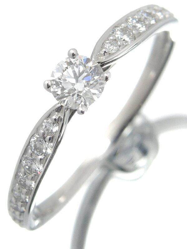 【TIFFANY&Co.】【仕上済】【鑑定書】ティファニー『PT950 ハーモニーリング ダイヤモンド0.19ct/F/VVS-1/EXCELLENT』11号 1週間保証【中古】
