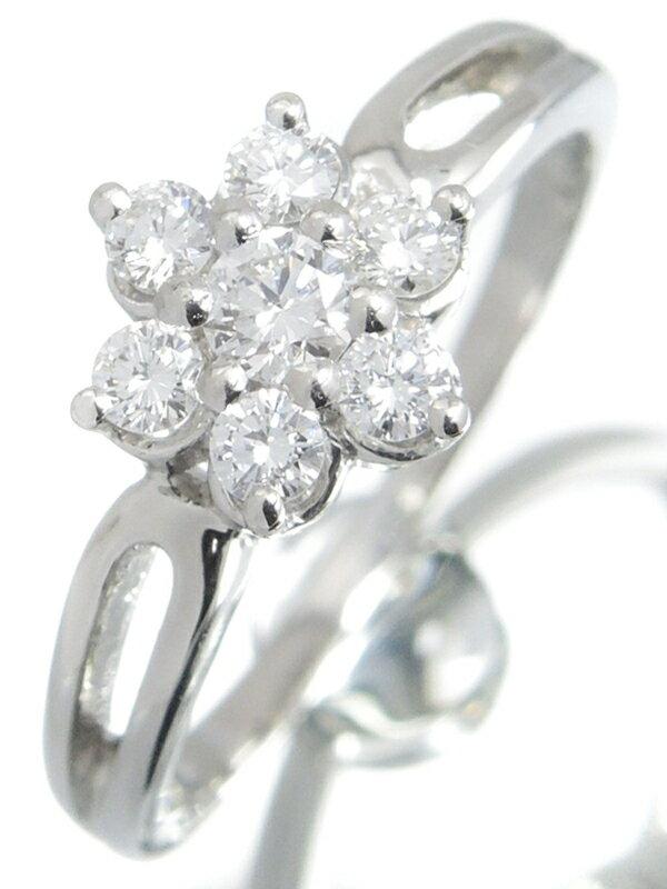 【MIKIMOTO】【仕上済】ミキモト『PT950リング ダイヤモンド0.34ct フラワーモチーフ』11号 1週間保証【中古】