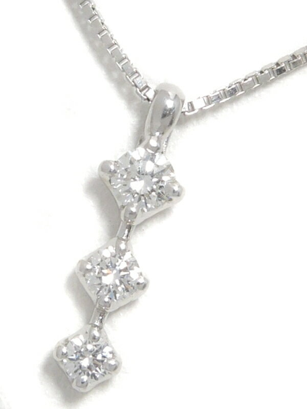 【TASAKI】タサキ『K18WGネックレス 3Pダイヤモンド0.19ct』1週間保証【中古】