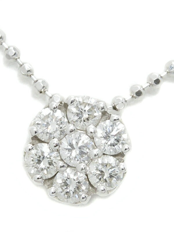 【Ponte Vecchio】ポンテヴェキオ『K18WGネックレス ダイヤモンド0.26ct フラワーモチーフ』1週間保証【中古】