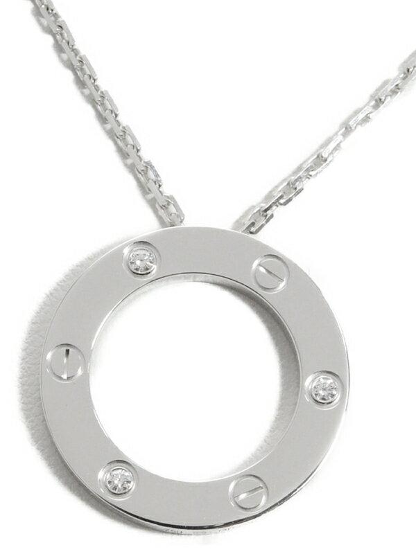 【Cartier】カルティエ『K18WG ラブ サークル ペンダント ネックレス 3Pダイヤ』1週間保証【中古】