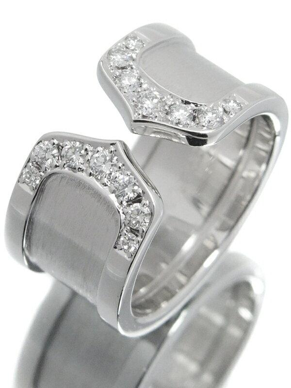 【Cartier】カルティエ『K18WG ロゴ ドゥーブルC C2リング 14Pダイヤモンド LM』8.5号 1週間保証【中古】
