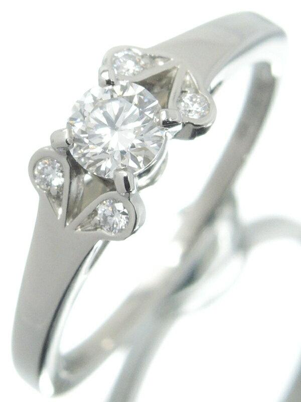 【Cartier】【BALLERINE】【鑑定書】【仕上済】カルティエ『PT950 バレリーナ ソリテール リング ダイヤモンド0.23ct/F/VVS2/EXCELLENT』10号 1週間保証【中古】