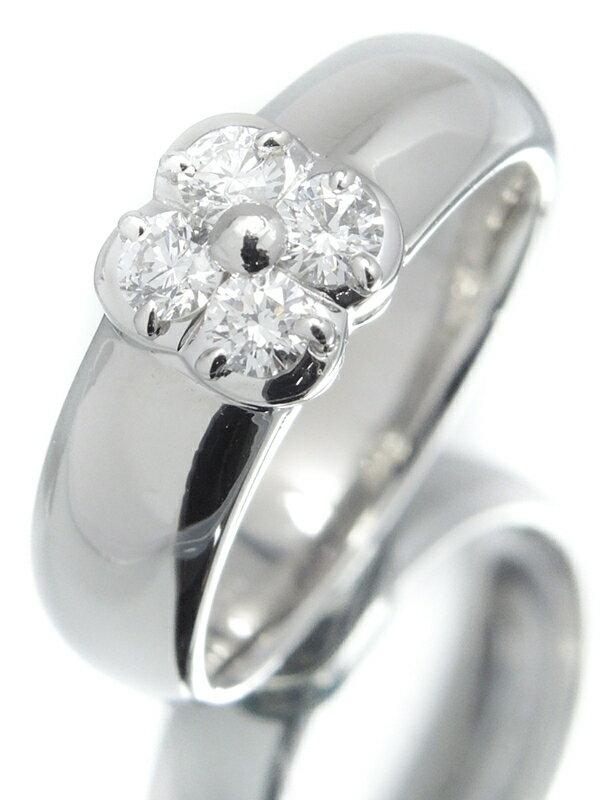 【MIKIMOTO】ミキモト『PT950リング 4Pダイヤモンド0.29ct フラワーモチーフ』11号 1週間保証【中古】