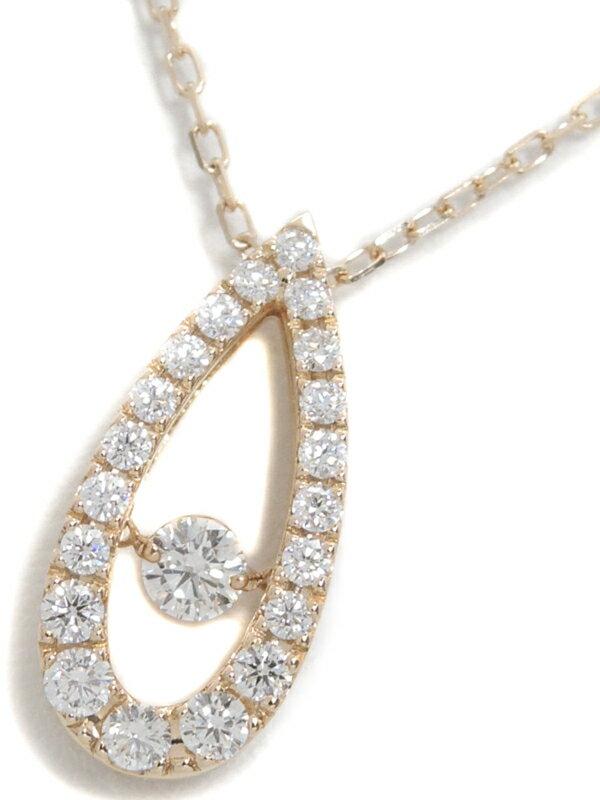 【MIKIMOTO】【ダンシングストーン】ミキモト『K18PG ネックレス ダイヤモンド0.53ct ドロップモチーフ』1週間保証【中古】