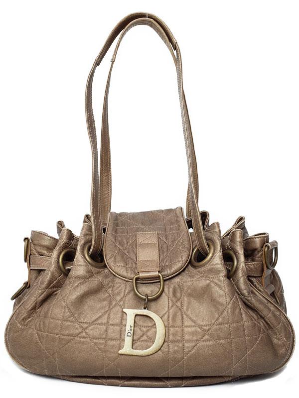 【Christian Dior】クリスチャンディオール『カナージュ 巾着ショルダーバッグ』レディース 1週間保証【中古】