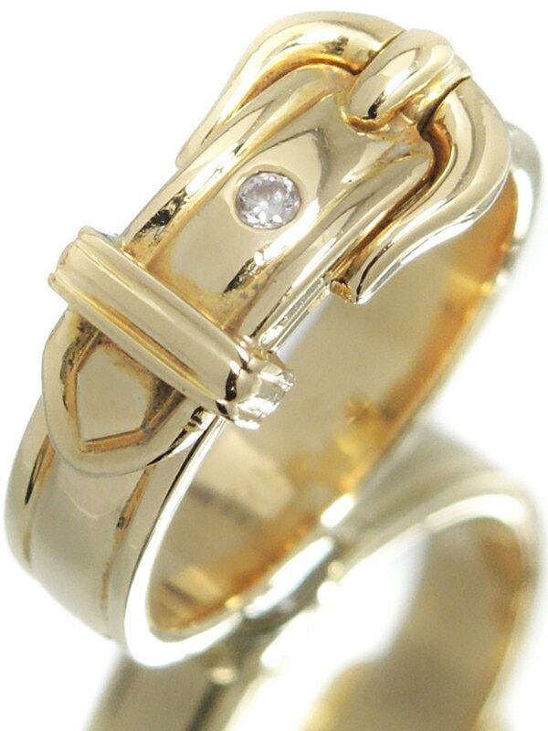 【HERMES】【ブックル セリエ】【サンチュール】エルメス『K18YG リング 1Pダイヤモンド ベルトデザイン』10号 1週間保証【中古】