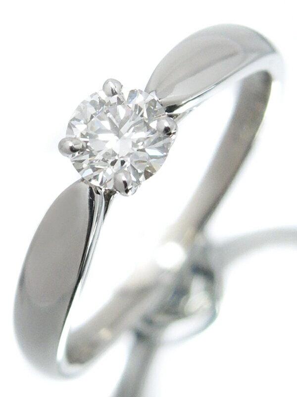 【TIFFANY&Co.】【仕上済】【鑑定書】ティファニー『PT950 ハーモニーリング 1Pダイヤモンド0.29ct/H/SI-1/EXCELLENT 』6.5号 1週間保証【中古】