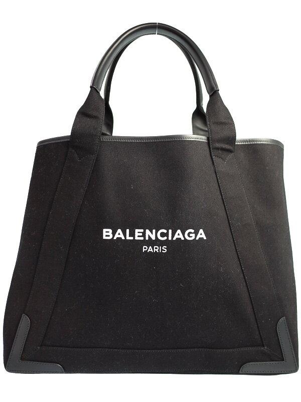 【BALENCIAGA】【ポーチ付】バレンシアガ『ネイビーカバM』339936 レディース トートバッグ 1週間保証【中古】