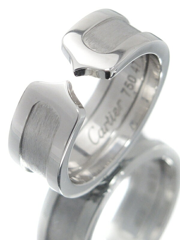 【Cartier】カルティエ『K18WG ロゴ ドゥーブルC C2リング』7号 1週間保証【中古】