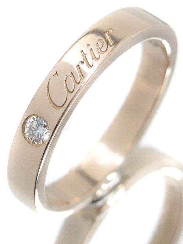 【Cartier】【C ドゥ カルティエ】【仕上済】カルティエ『K18PG エングレーブド リング 1Pダイヤモンド』8号 1週間保証【中古】