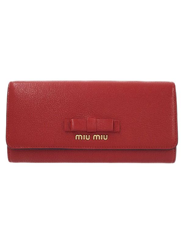 【MIUMIU】ミュウミュウ『リボン 二つ折り長財布』5MH109 レディース 1週間保証【中古】