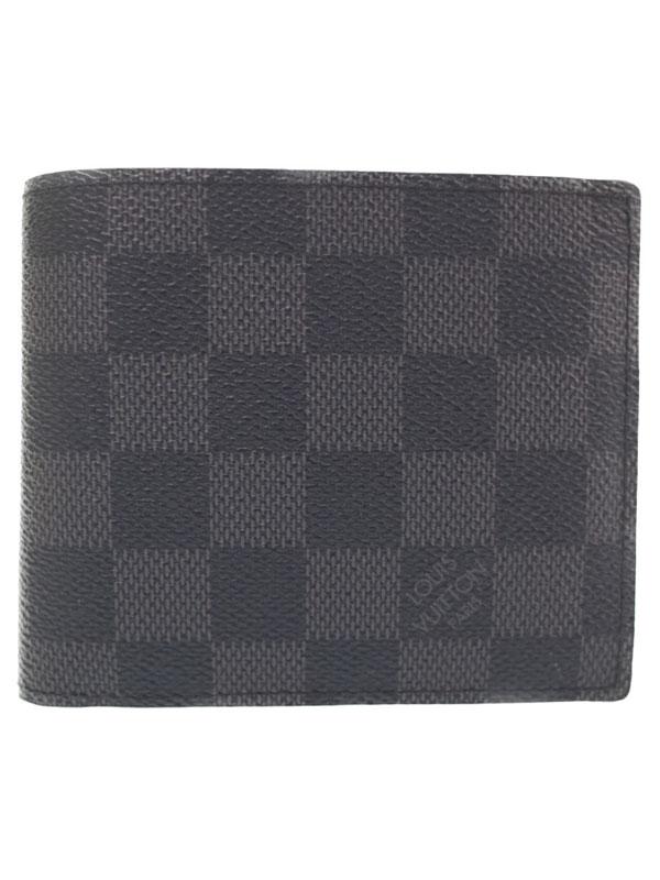 【LOUIS VUITTON】ルイヴィトン『ダミエ グラフィット ポルトフォイユ マルコ NM』N63336 メンズ 二つ折り短財布 1週間保証【中古】