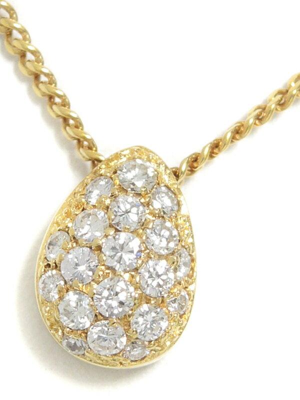 【星の砂】【パヴェダイヤ】ホシノスナ『K18YGネックレス ダイヤモンド0.31ct ドロップモチーフ』1週間保証【中古】
