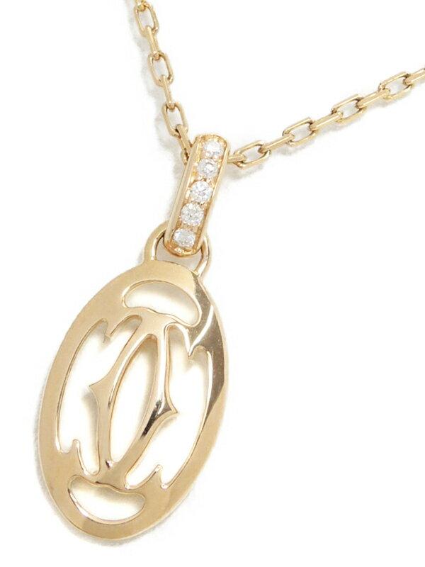 【Cartier】カルティエ『K18PG ロゴ ドゥーブル C ダイヤモンド ネックレス』1週間保証【中古】