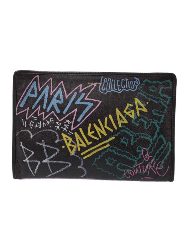 【BALENCIAGA】バレンシアガ『グラフィティ バザール ポーチ』443658 メンズ クラッチバッグ 1週間保証【中古】