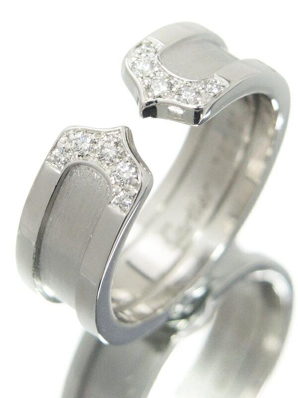 【Cartier】カルティエ『K18WG ロゴ ドゥーブルC C2リング 10Pダイヤモンド』11号 1週間保証【中古】
