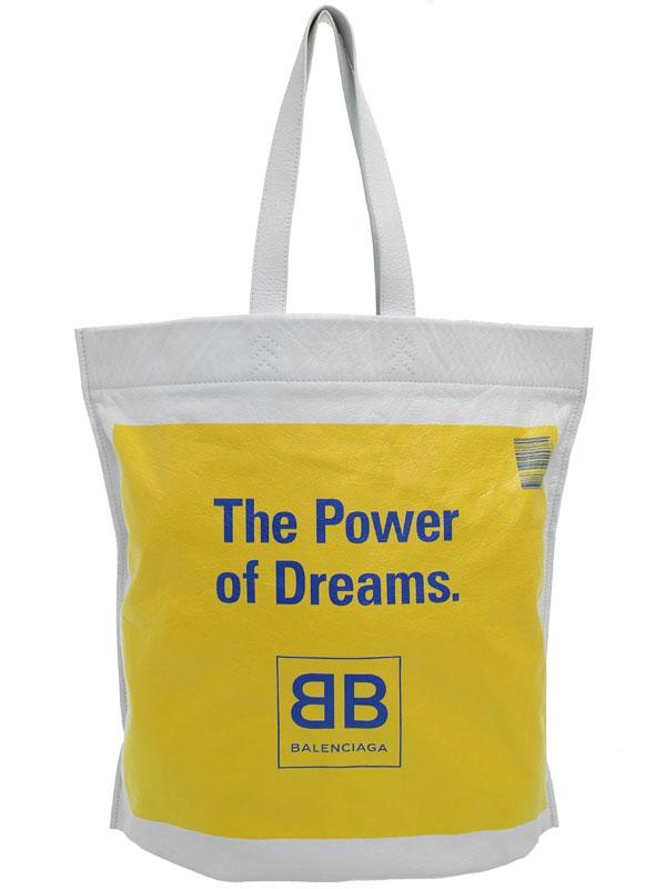 【BALENCIAGA】バレンシアガ『ロゴ プリントレザー トートバッグ』508454 メンズ 1週間保証【中古】