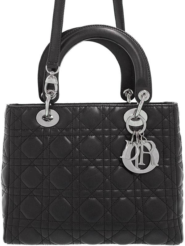 【Christian Dior】【カナージュ】クリスチャンディオール『レディディオール(M)』CAL44551 レディース 2WAYバッグ 1週間保証【中古】