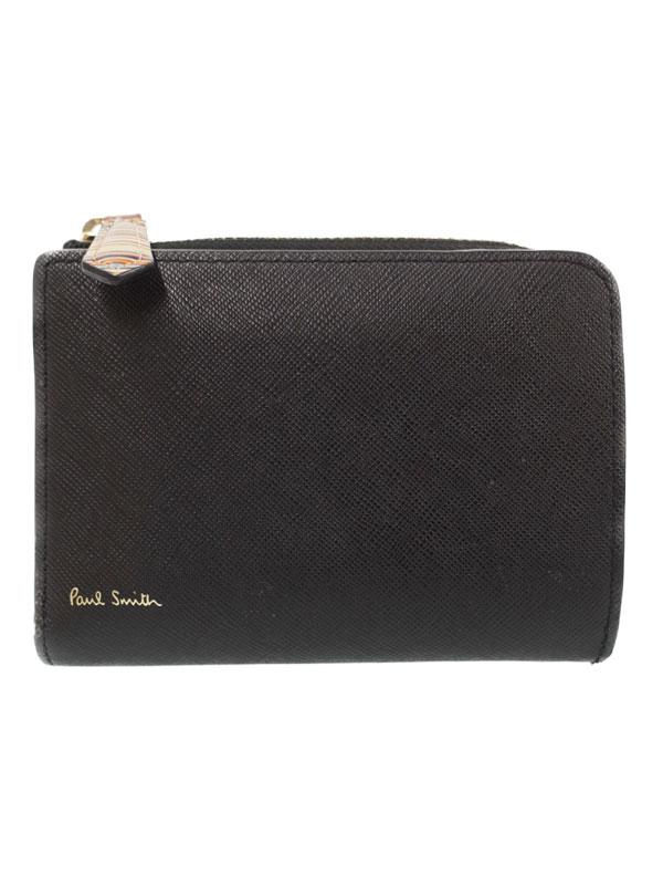 【Paul Smith】ポールスミス『ジップ ストローグレイン 二つ折り財布』PSC784 メンズ 二つ折り短財布 1週間保証【中古】