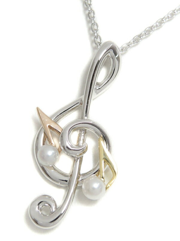 【MIKIMOTO】【Music Motif Collection】ミキモト『K18YG/K18PG/SILVER/SS ネックレス パール3.3mm 3.5mm 音符モチーフ』1週間保証【中古】