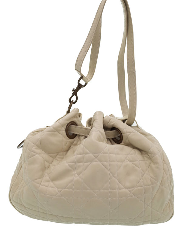 【Christian Dior】クリスチャンディオール『カナージュ 巾着型 ショルダーバッグ』レディース 1週間保証【中古】