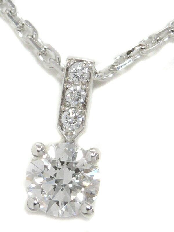 【PIAGET】【ELEGANCE】【鑑定書】【仕上済】ピアジェ『K18WG エレガンス ペンダント ネックレス ダイヤモンド0.33ct/F/VVS-1/EXCELLENT』1週間保証【中古】