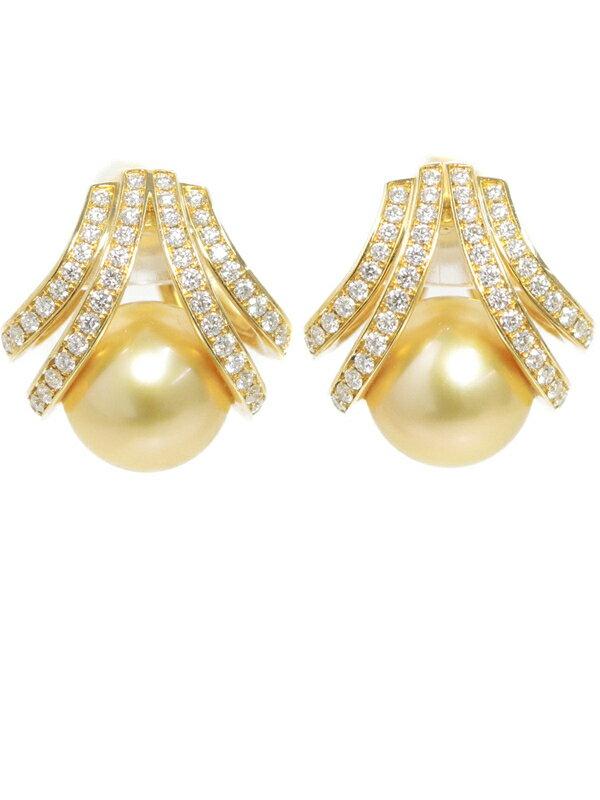 【MIKIMOTO】【ネジ式】【真珠鑑別書】ミキモト『K18YGイヤリング パール10.5mm ダイヤモンド0.37ct 0.37ct』1週間保証【中古】