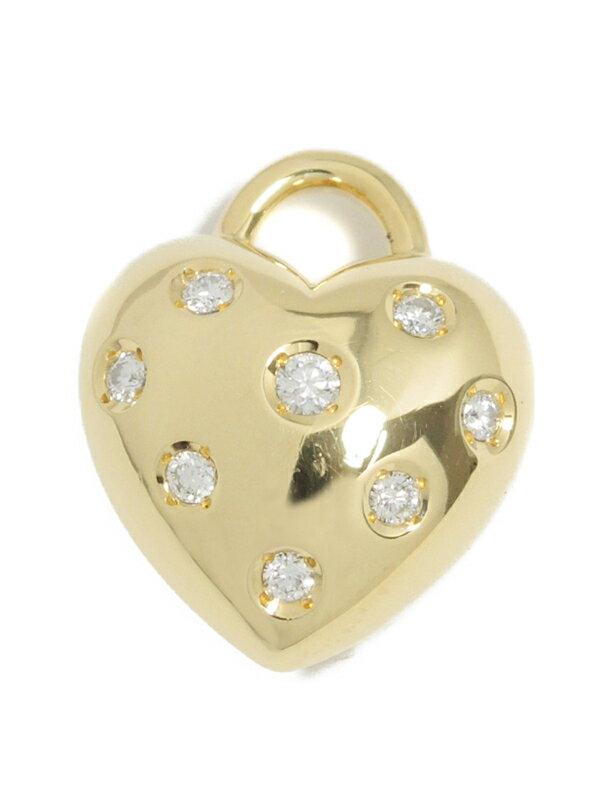【MIKIMOTO】ミキモト『K18YGペンダントトップ ダイヤモンド0.23ct ハートモチーフ』1週間保証【中古】