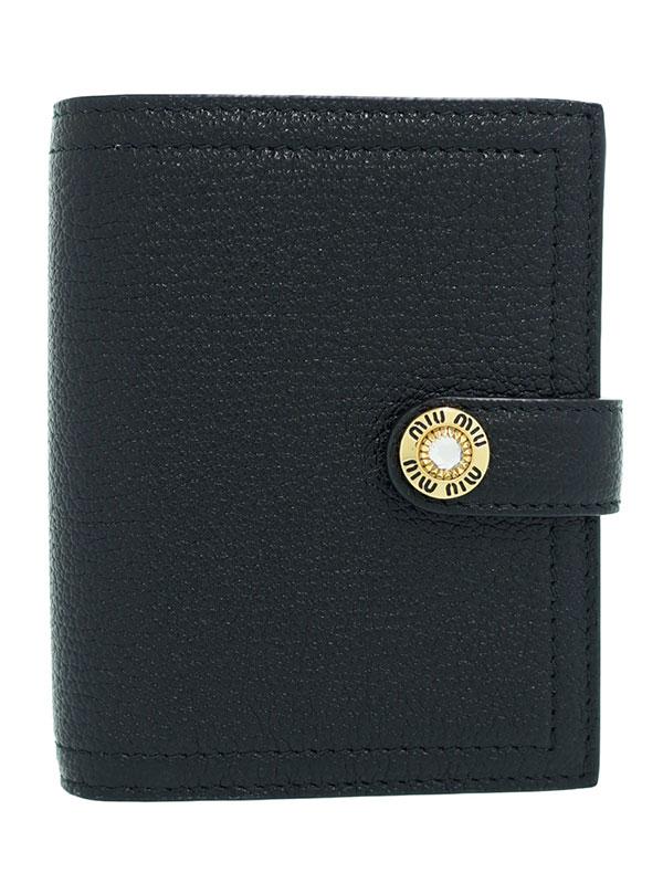 【MIUMIU】ミュウミュウ『ビジュー付 マドラスレザー 財布』5MV016 レディース 二つ折り短財布 1週間保証【中古】