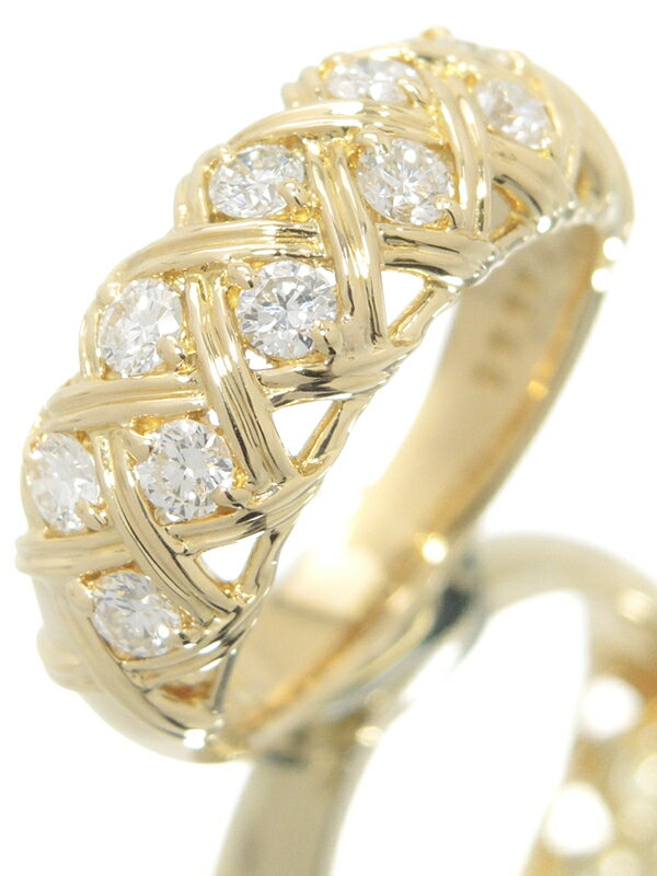 【MIKIMOTO】【編み込みデザイン】【仕上済】 ミキモト『K18YGリング ダイヤモンド0.60ct』11号 1週間保証【中古】