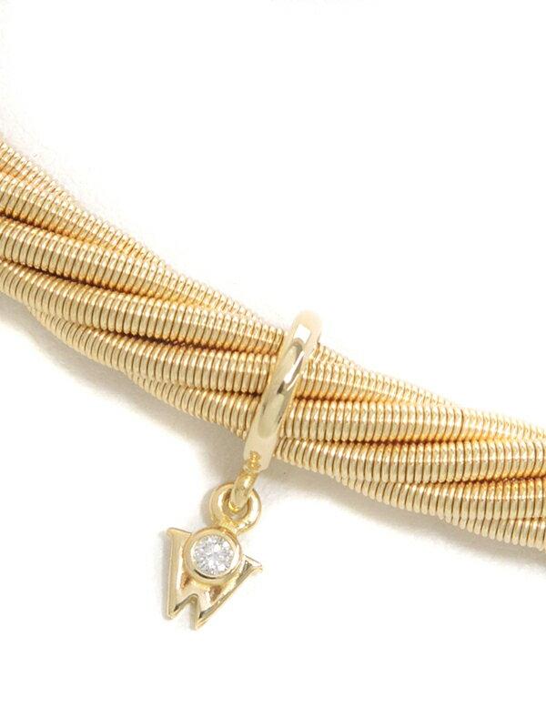 【MIKIMOTO】【チョーカー】【メーカー仕上げ済】【Mデザイン】【ロープ】ミキモト『K18YGネックレス ダイヤモンド』1週間保証【中古】